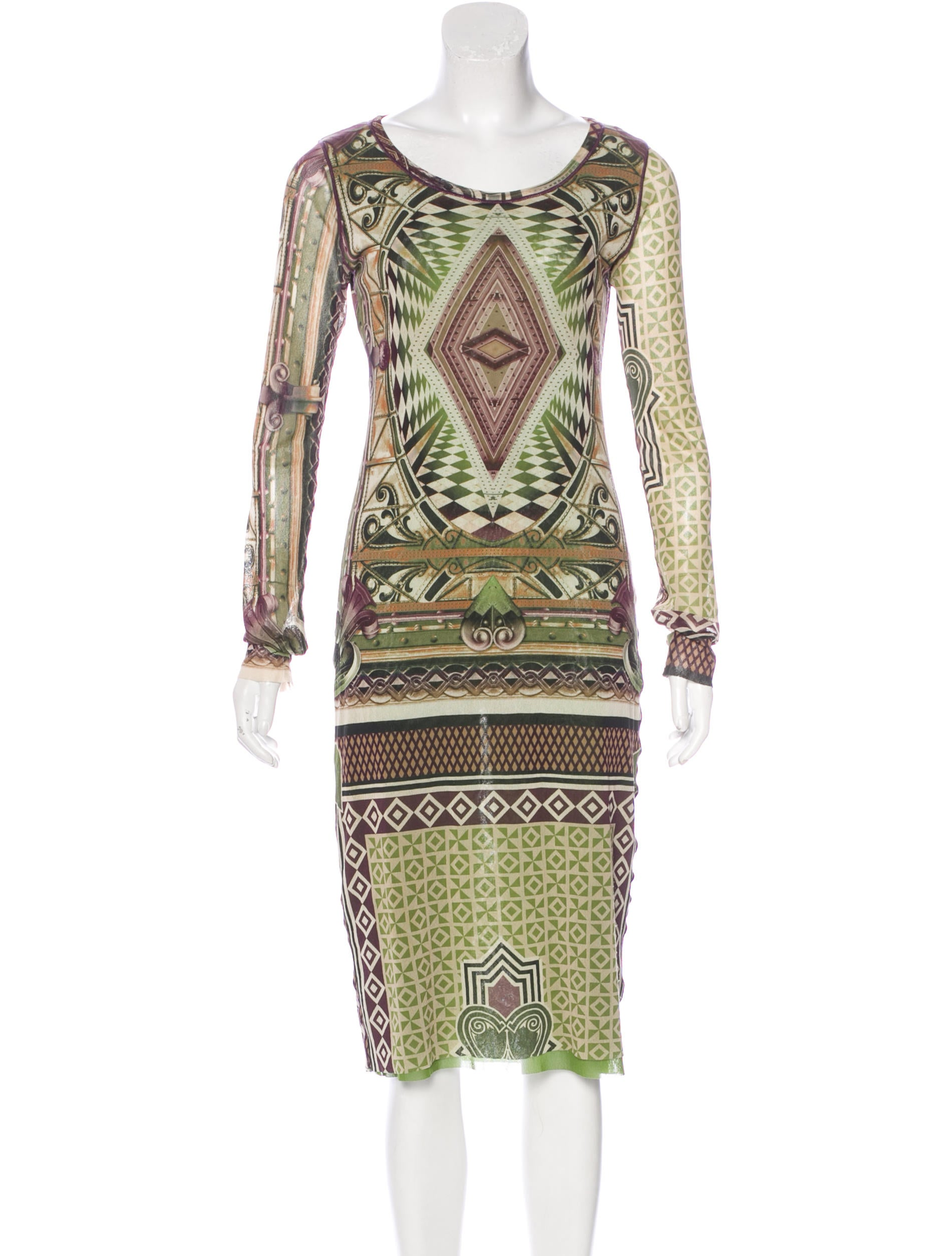 Jean paul gaultier printed long sleeve dress clothing for Jean paul gaultier clothing