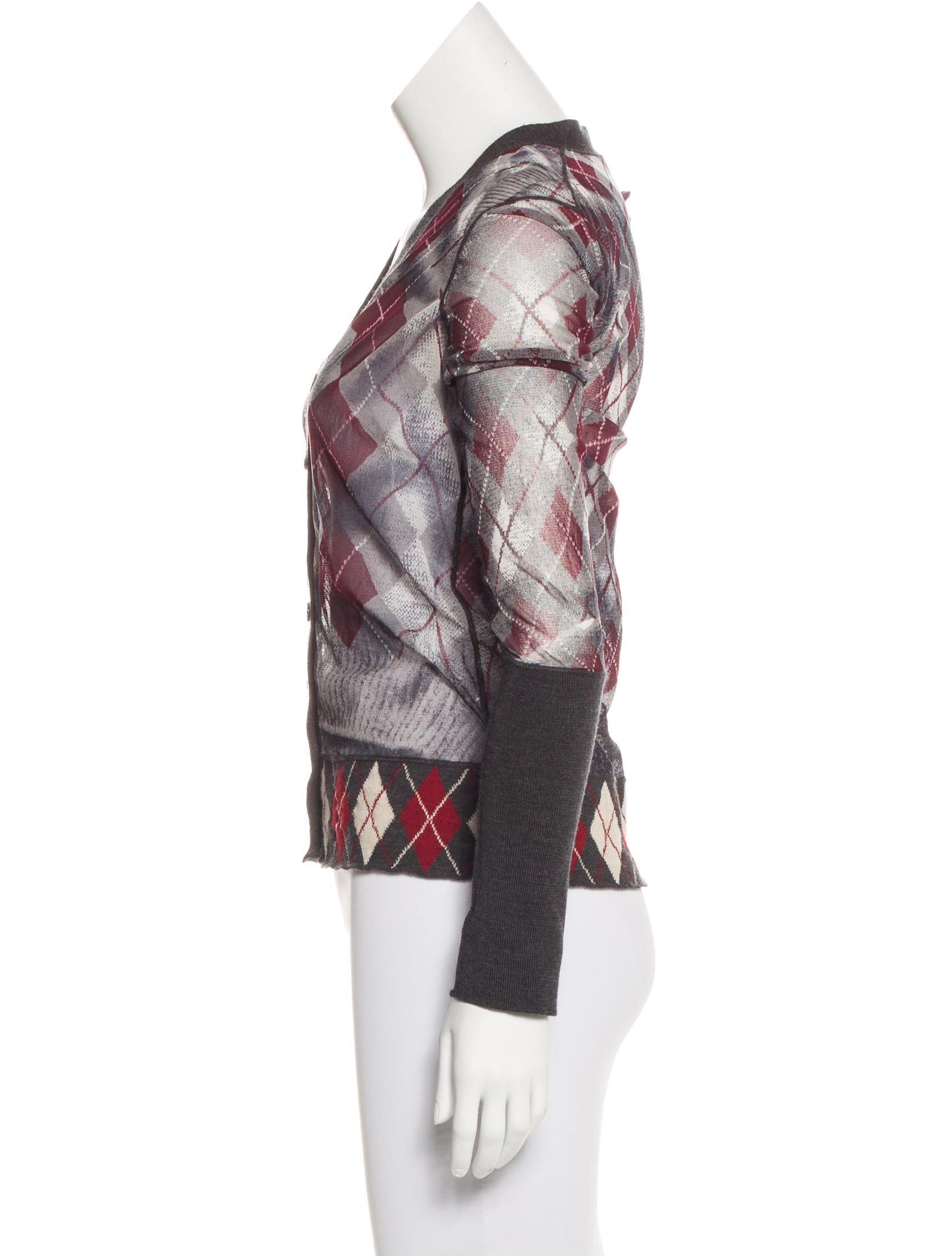 Jean paul gaultier argyle mesh cardigan clothing for Jean paul gaultier clothing