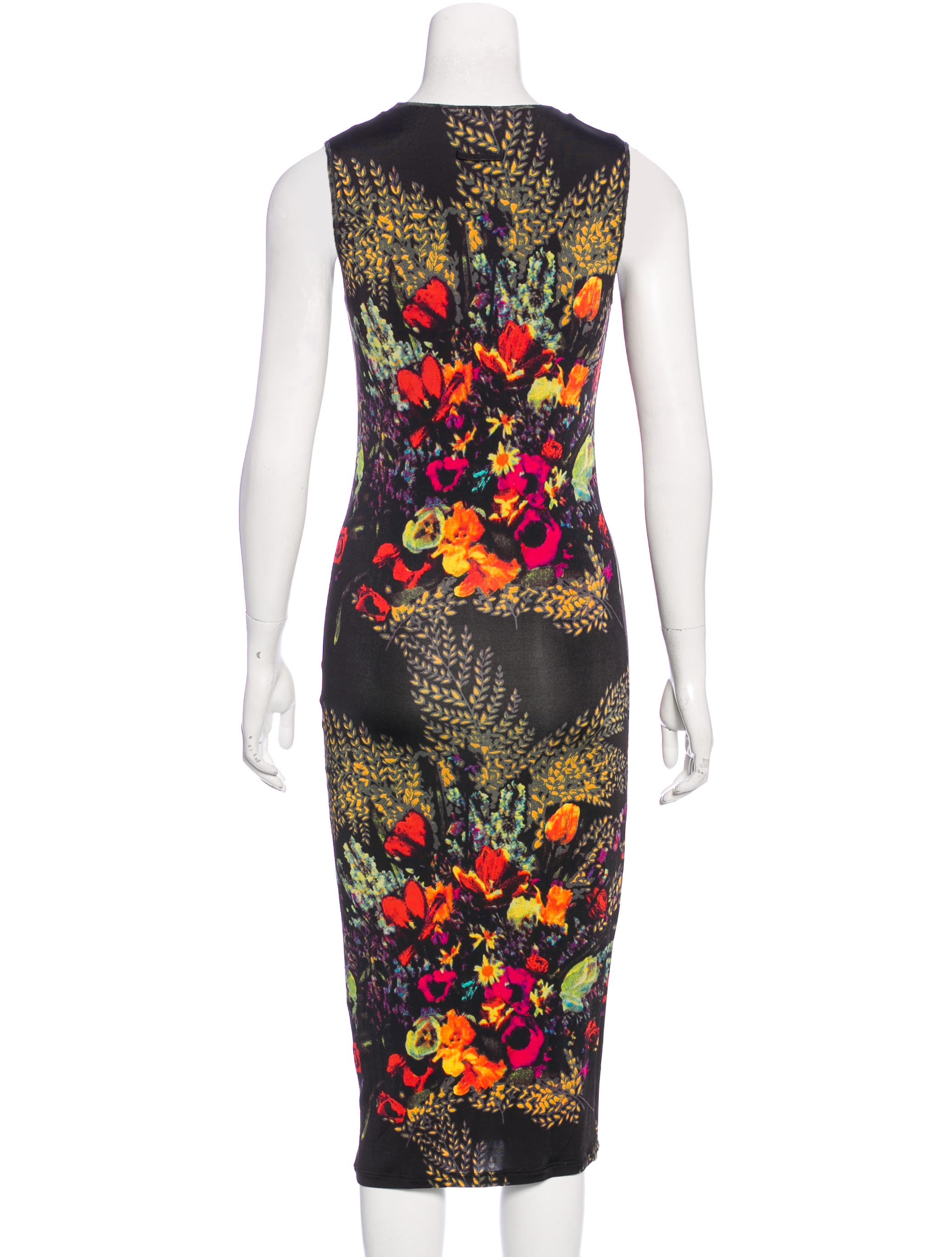 jean paul gaultier printed midi dress clothing