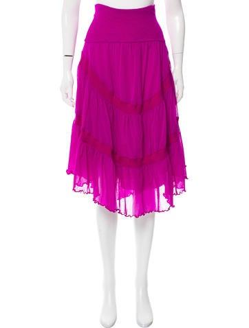 Jean Paul Gaultier Mesh Midi Skirt None