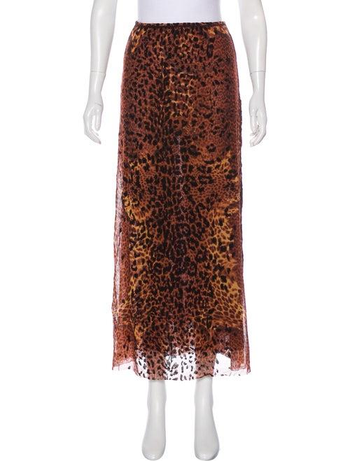 Jean Paul Gaultier Maille Leopard Print Midi Skirt