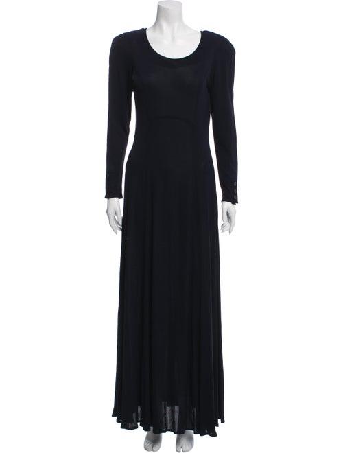 Jean Muir Scoop Neck Long Dress Blue