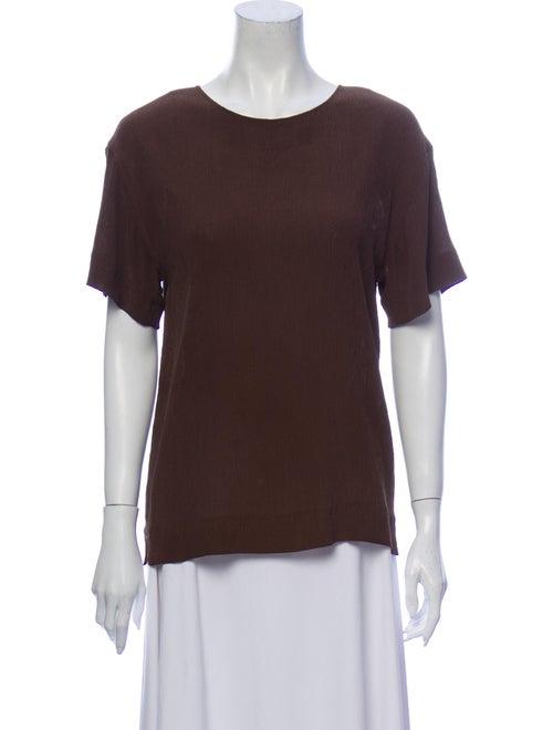 Jean Muir Silk Scoop Neck T-Shirt Brown