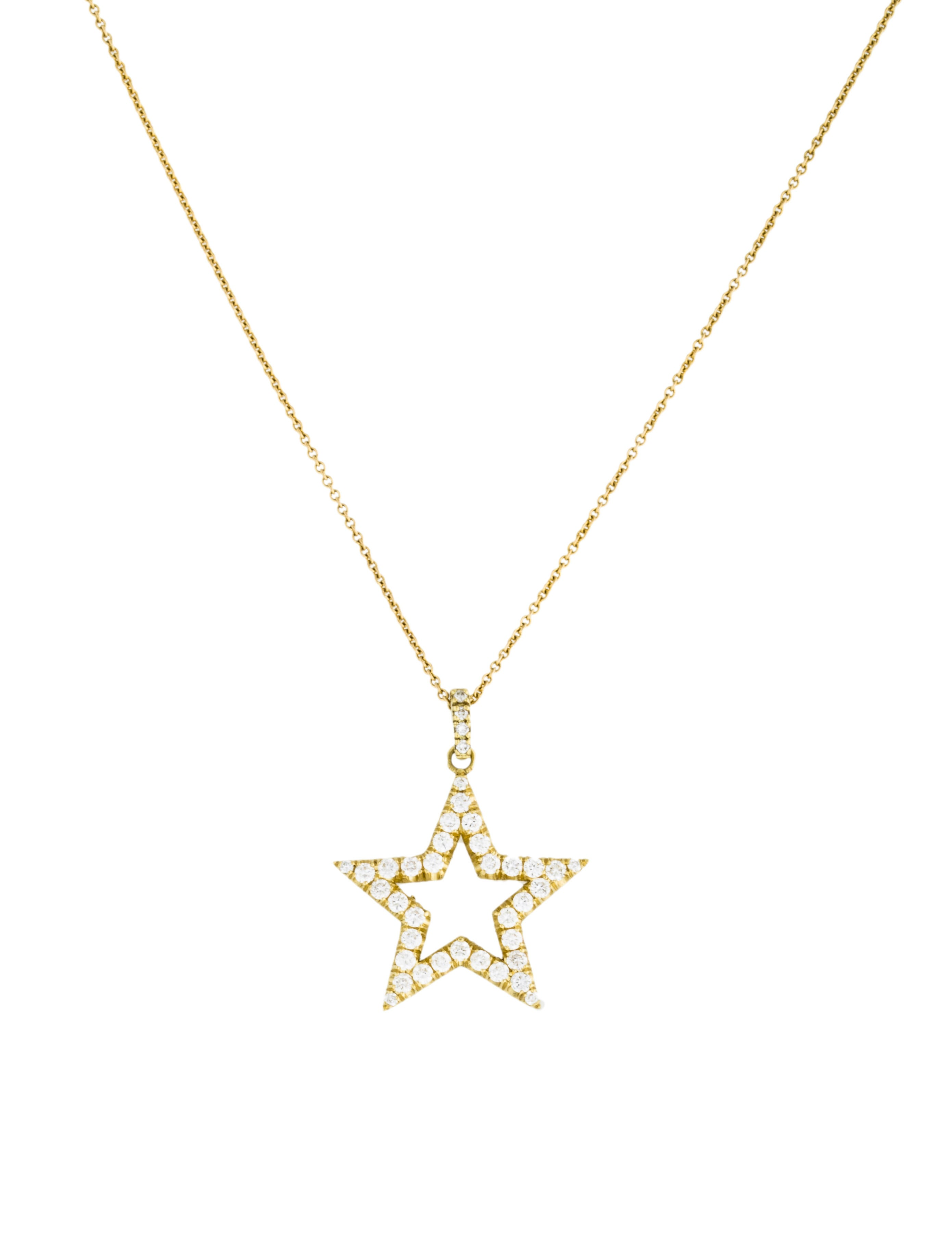 Jennifer Meyer Open Star Diamond Pendant Necklace Necklaces