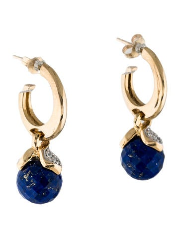 14K Diamond & Lapis Lazuli Drop Earrings