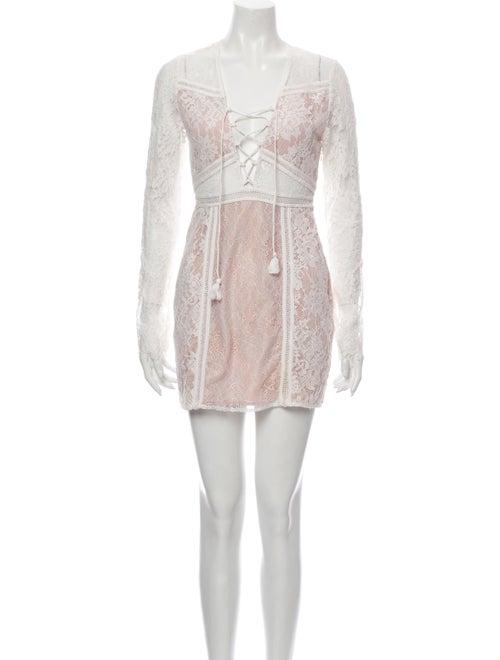 Jet Set Lace Pattern Mini Dress White