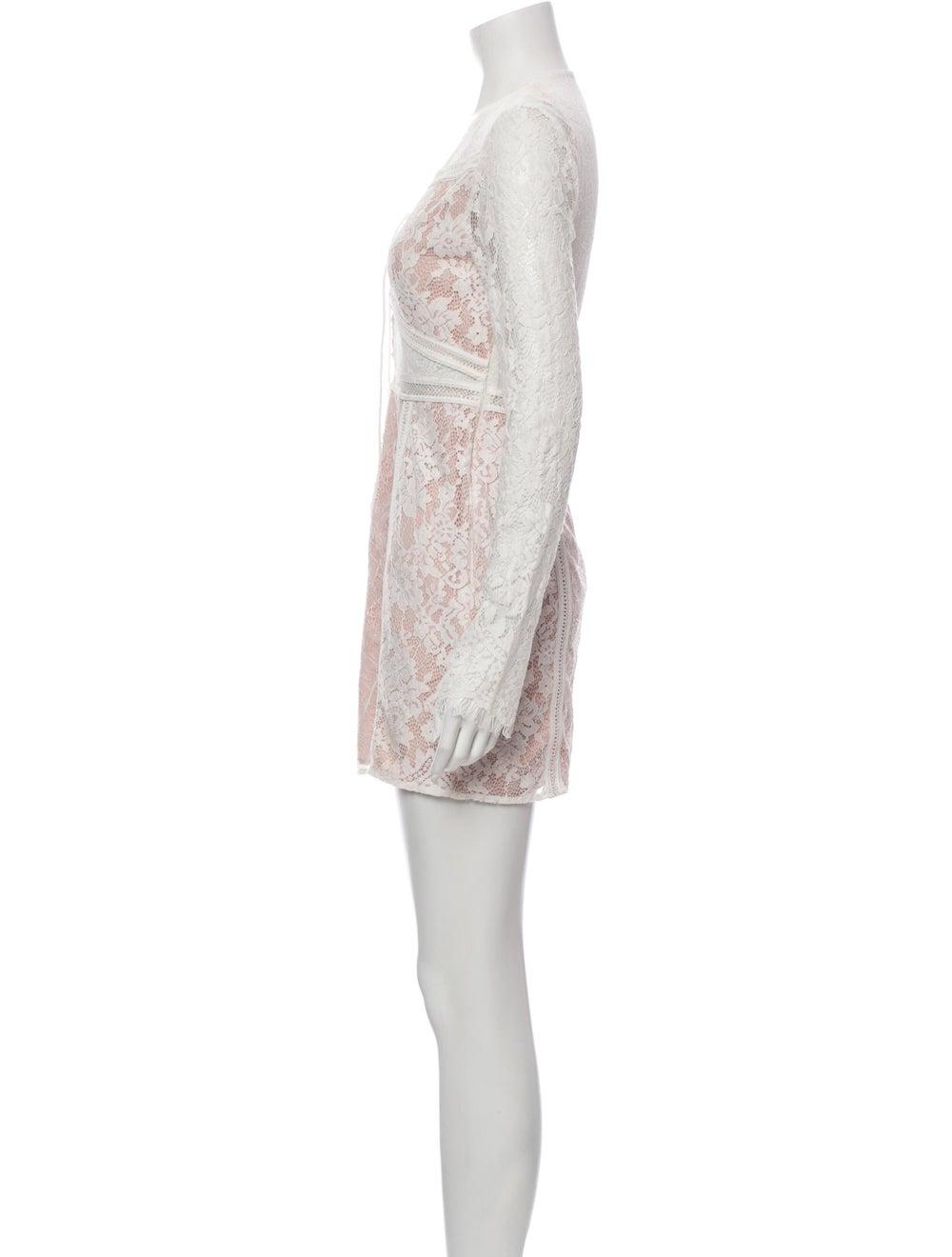 Jet Set Lace Pattern Mini Dress White - image 2