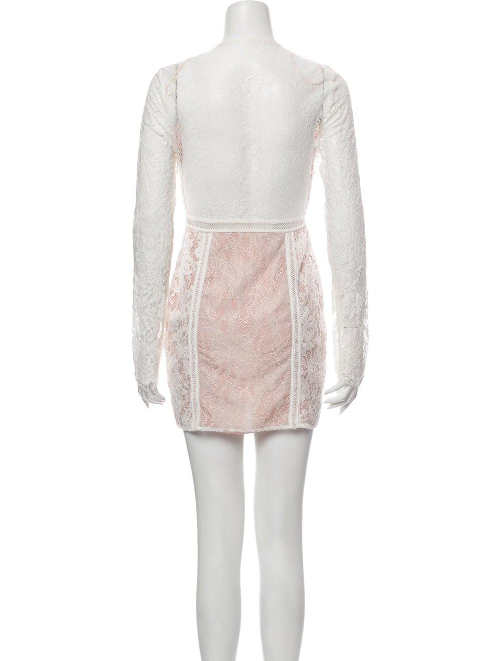 Jet Set Lace Pattern Mini Dress White - image 3