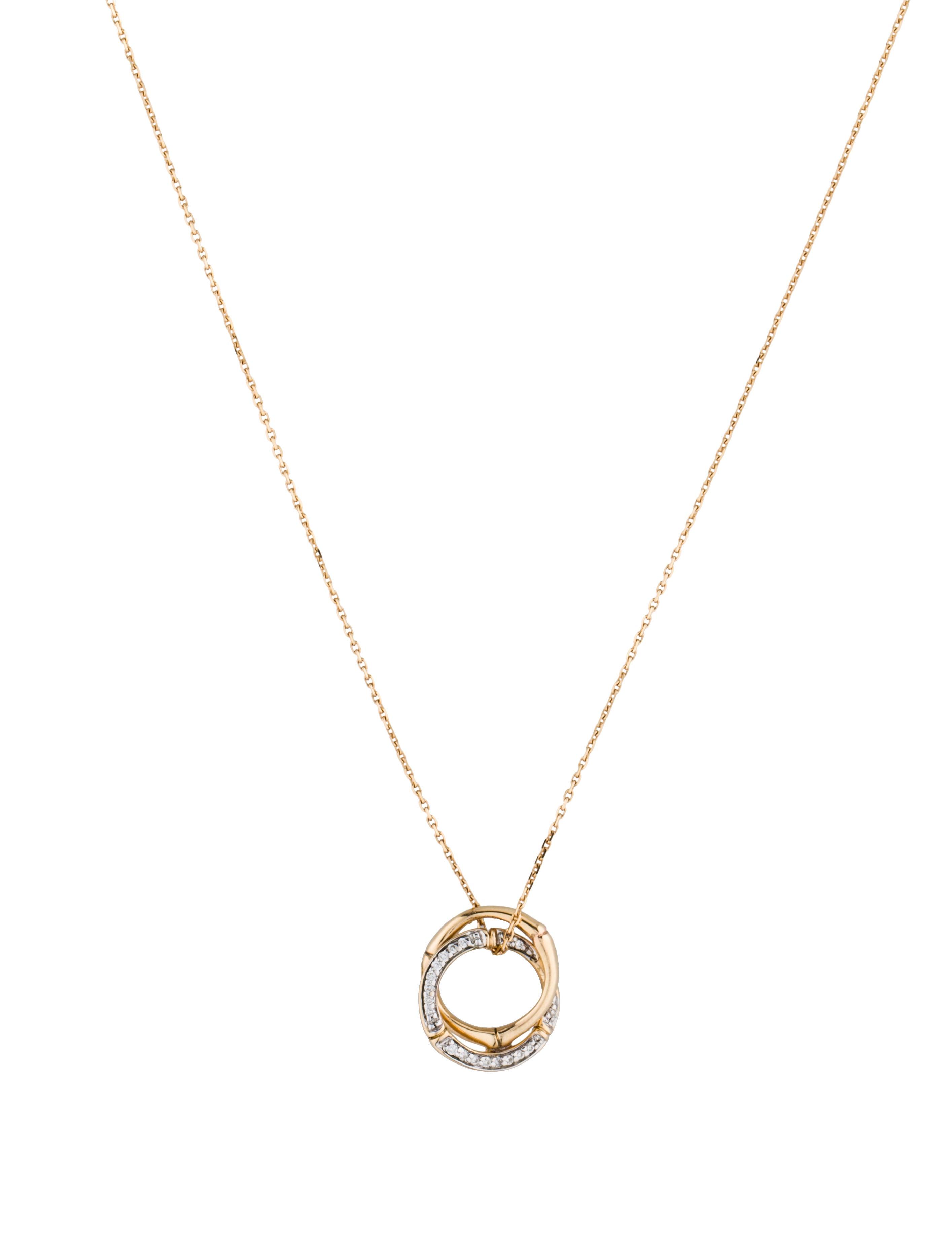 John Hardy Bamboo Diamond Round Pendant Necklace