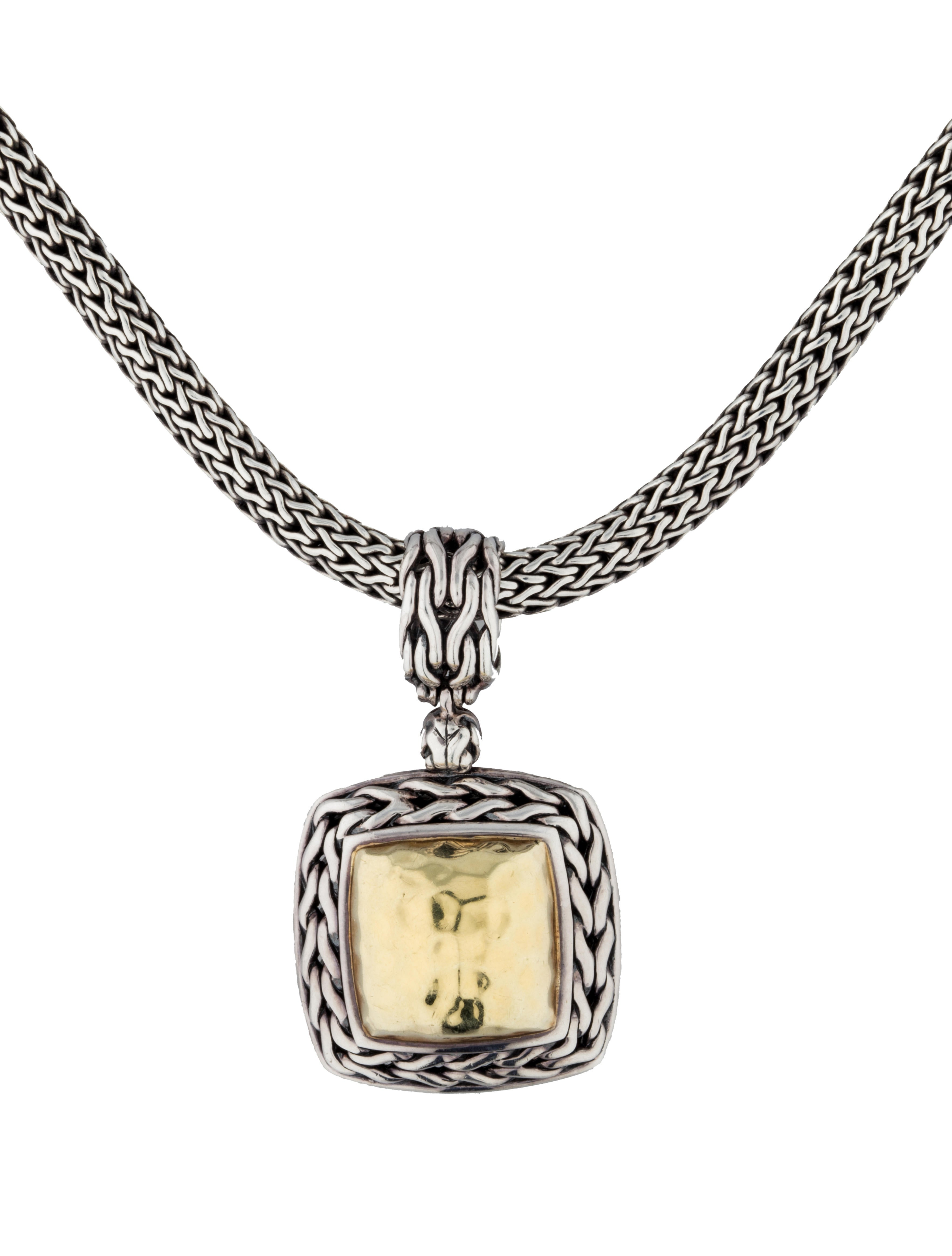 hardy palu hammered square pendant necklace