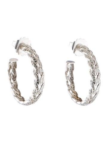 John Hardy Diamond Chain Hoop Earrings