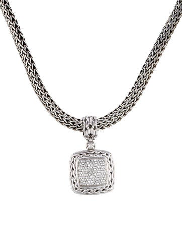 John Hardy Pavé Diamond Pendant Necklace