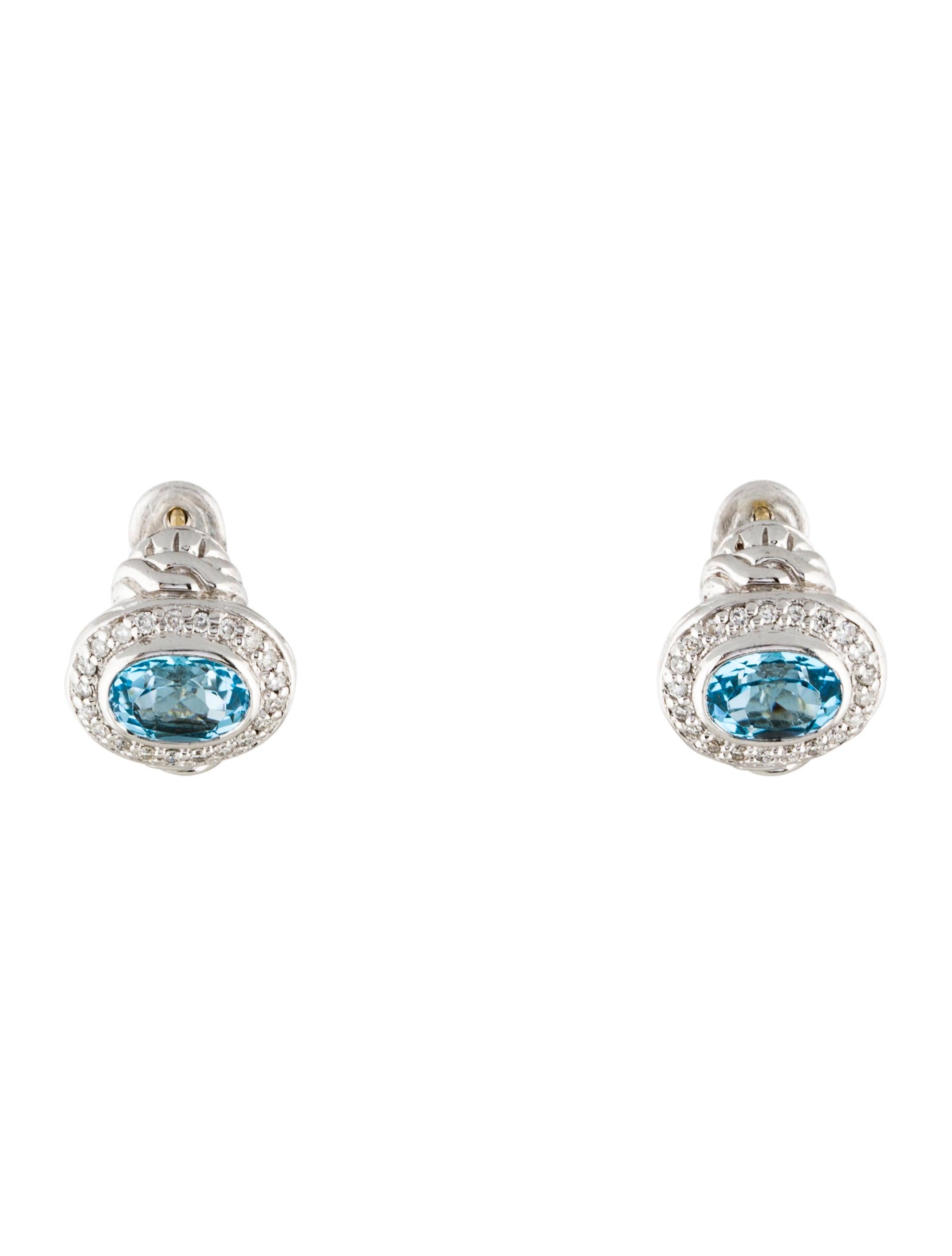 John hardy diamond topaz classic chain huggie earrings for John hardy jewelry earrings