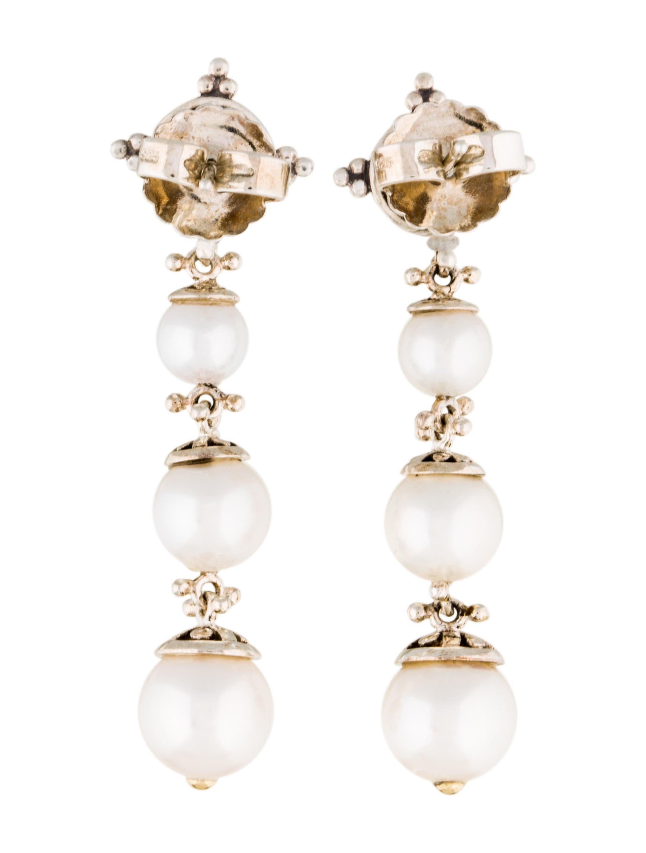 John hardy pearl jaisalmer linear drop earrings earrings for John hardy jewelry earrings