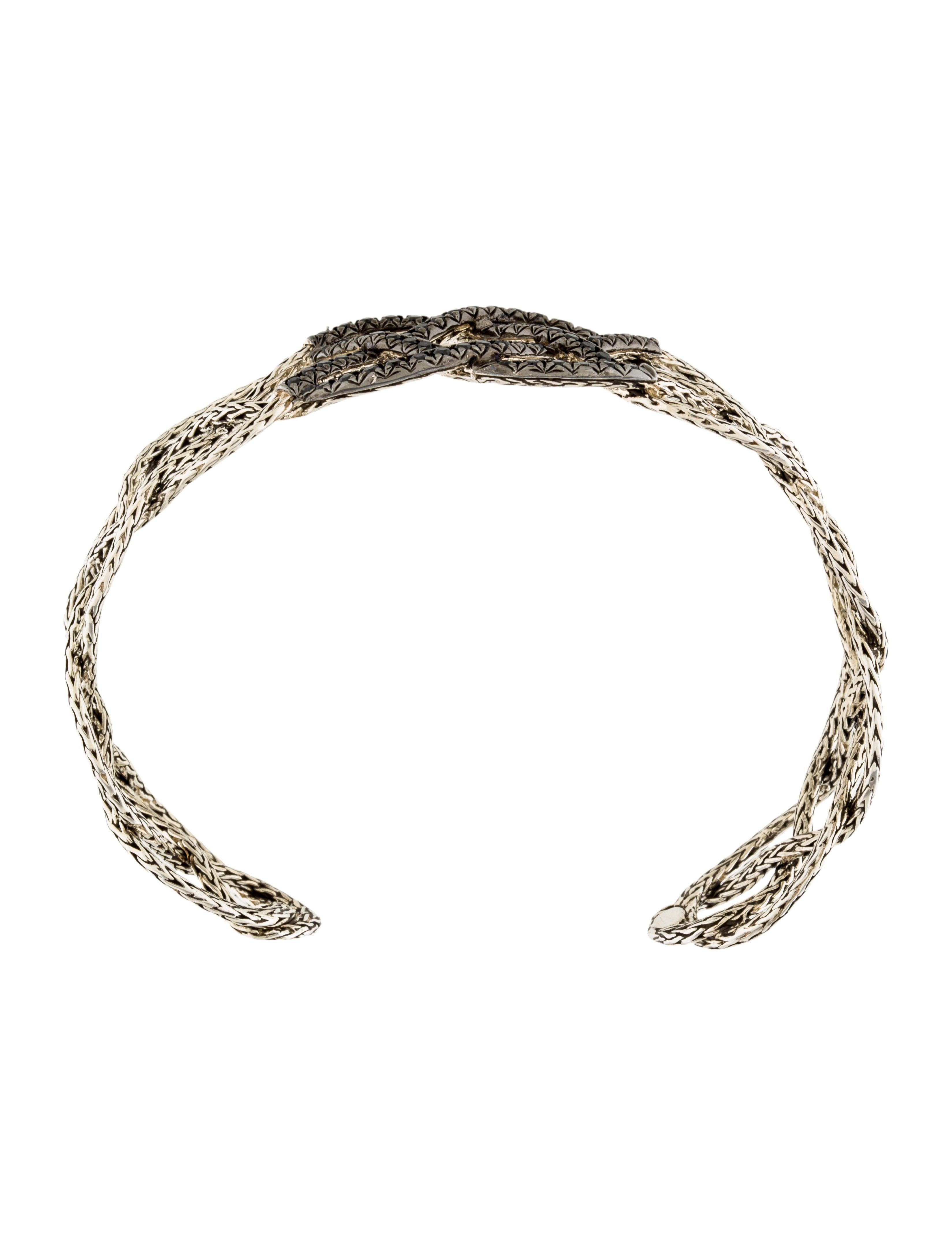 john hardy black diamond woven cuff bracelet w tags