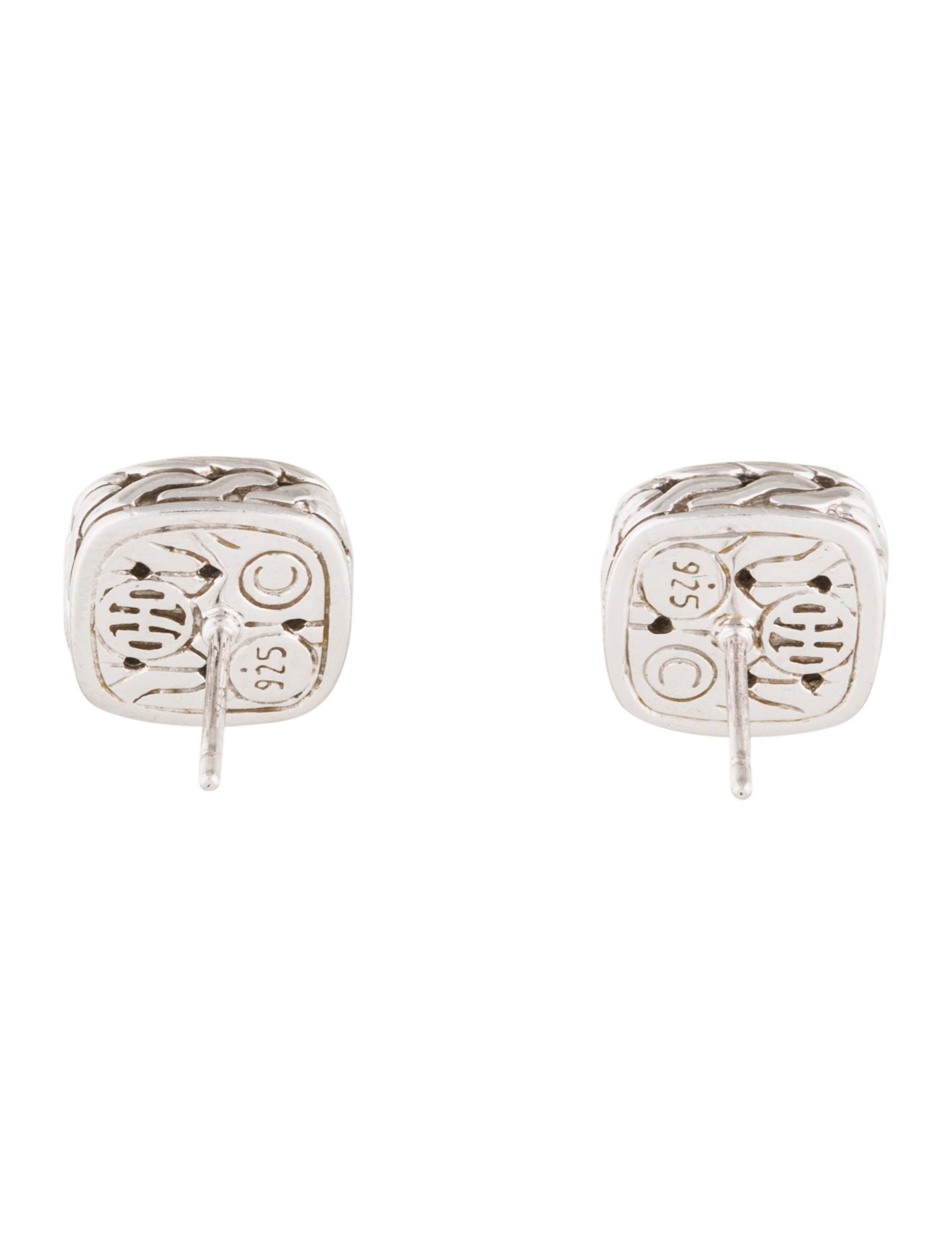 john hardy black sapphire small square stud earrings