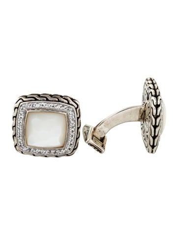 John Hardy Mother of Pearl & Sapphire Classic Chain Cufflinks None