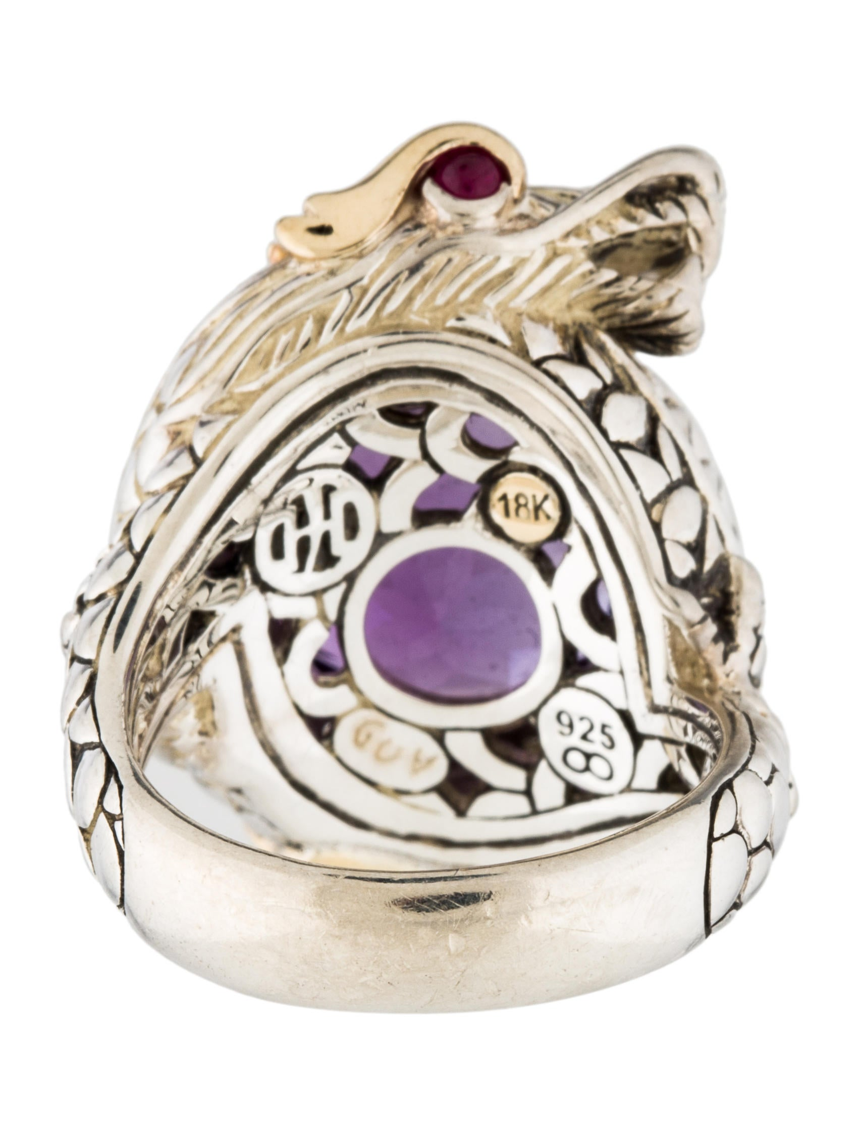 John Hardy Amethyst Diamond Amp Ruby Dragon Ring Rings