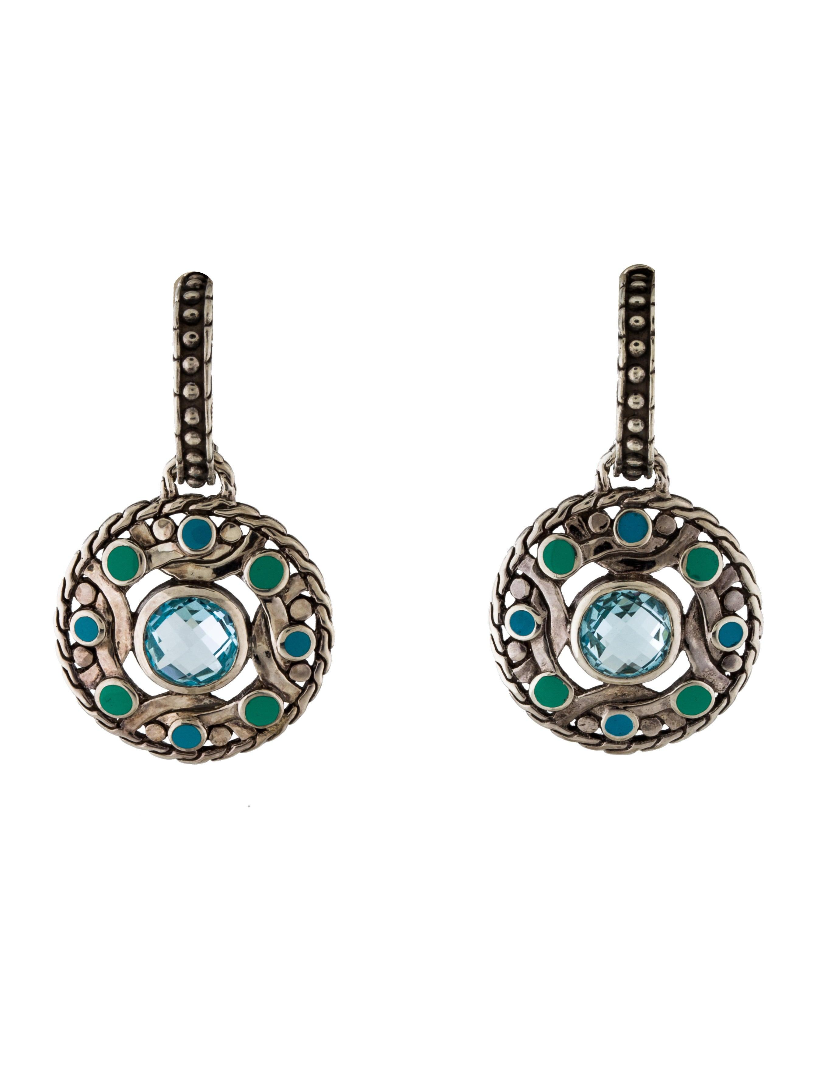 John hardy topaz enamel bulan drop earrings earrings for John hardy jewelry earrings
