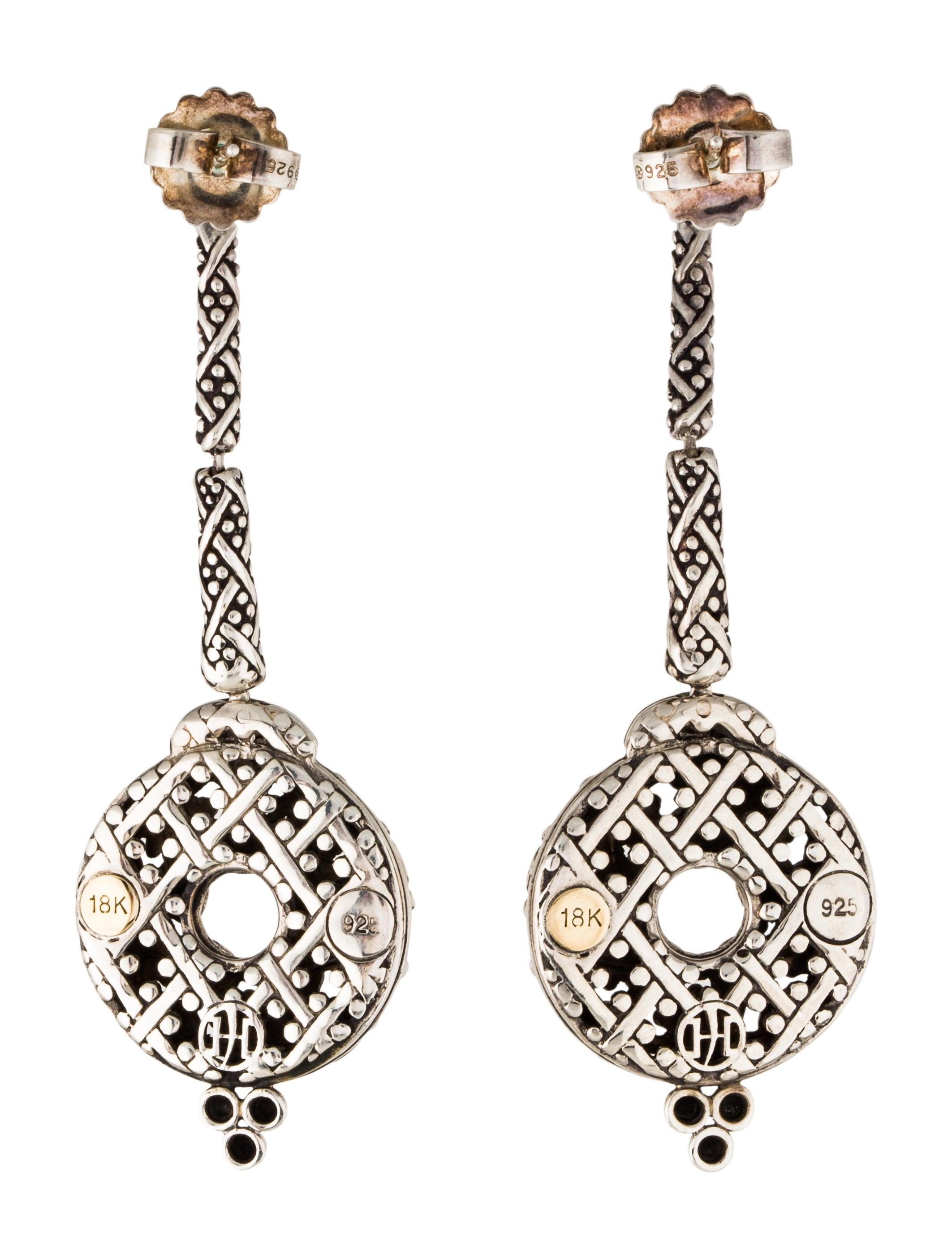 John hardy two tone jaisalmer drop earrings earrings for John hardy jewelry earrings