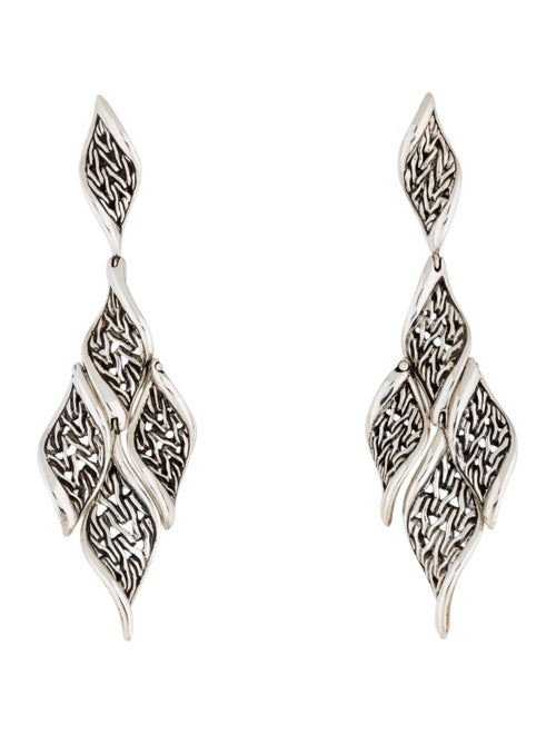 John Hardy Wave Drop Earrings silver