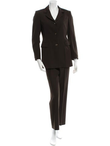 Jil Sander Wool-Blend Notched Lapel Pantsuit None