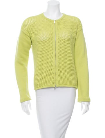 Jil Sander Green Rib Knit Caridgan None