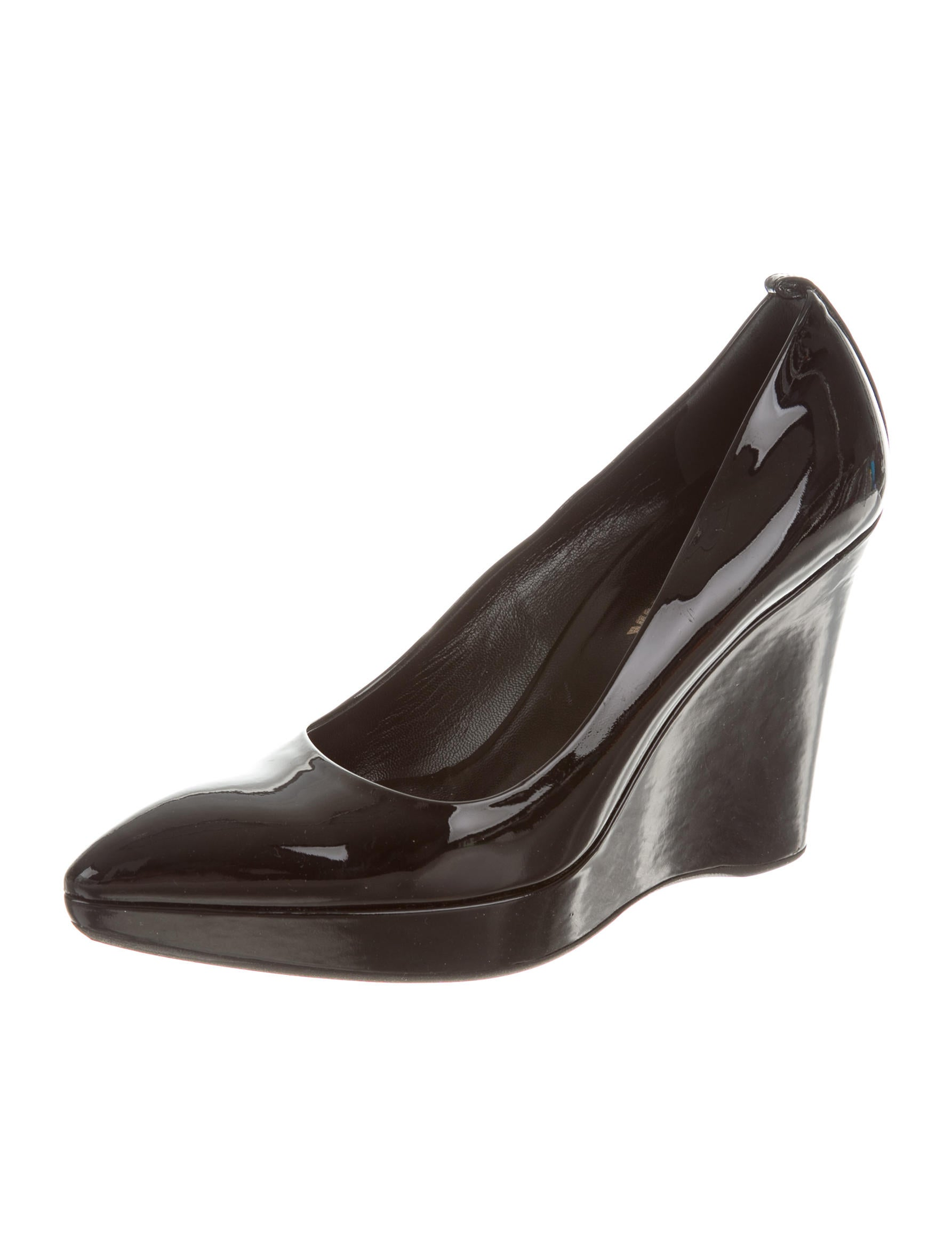 jil sander patent leather pointed toe wedges shoes