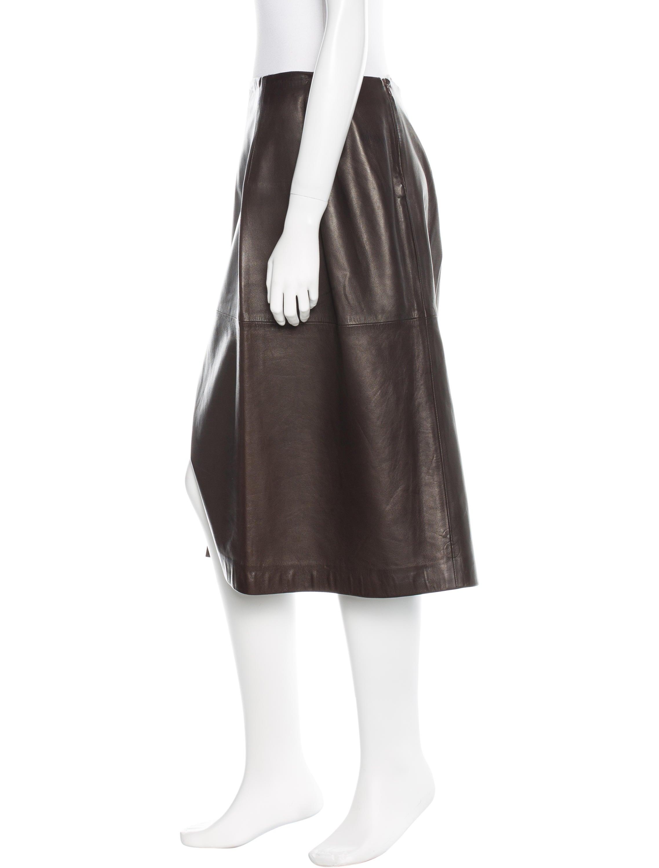 jil sander knee length leather skirt clothing jil33643