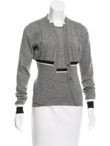 Jil Sander Virgin Wool Colorblock Cardigan Set None