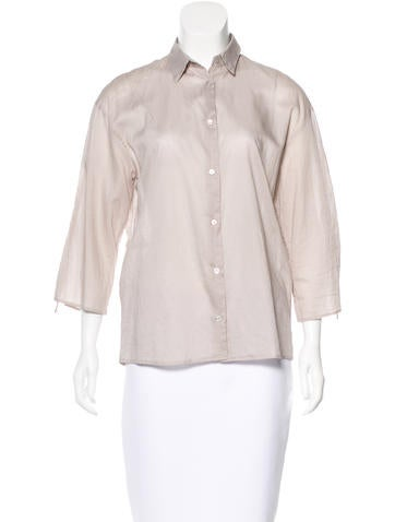Jil Sander Three-Quarter Sleeve Button-Up Top None