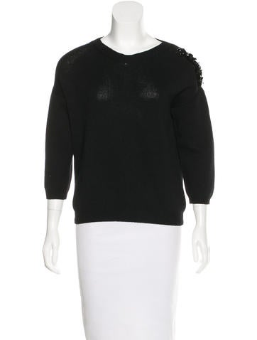 Jil Sander Rib Knit Embellished Sweater w/ Tags None