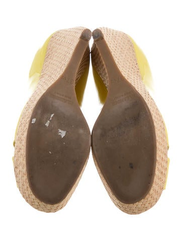 Peep-Toe Patent Leather Wedges