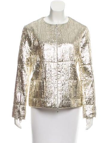 Jil Sander Collarless Brocade Jacket