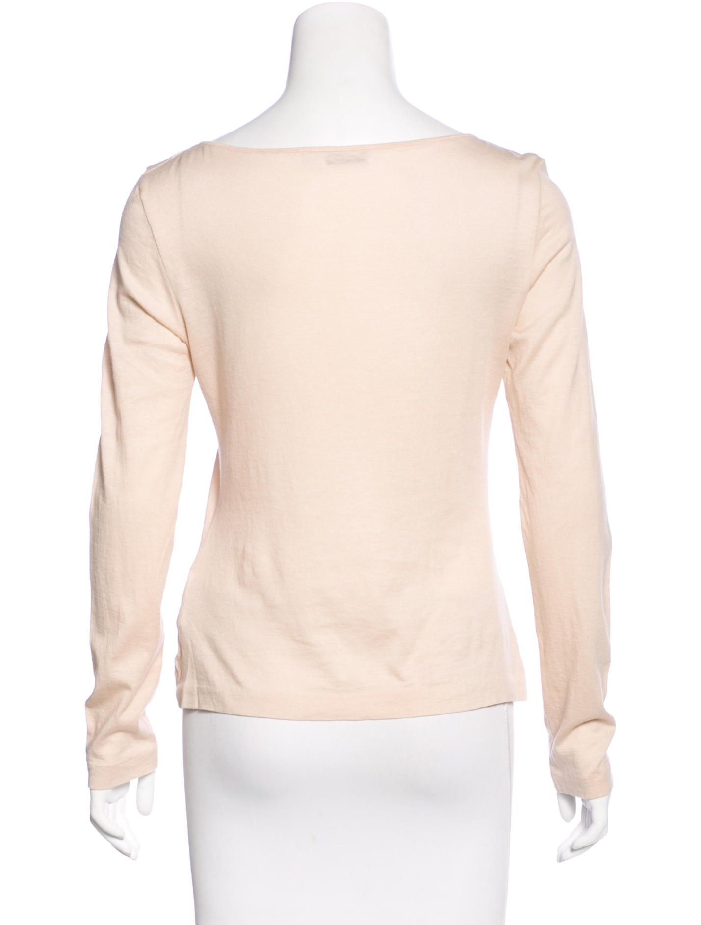Jil sander scoop neck long sleeve t shirt clothing for Long sleeve scoop neck shirt