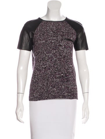 Jil Sander Leather-Paneled Virgin Wool Top None