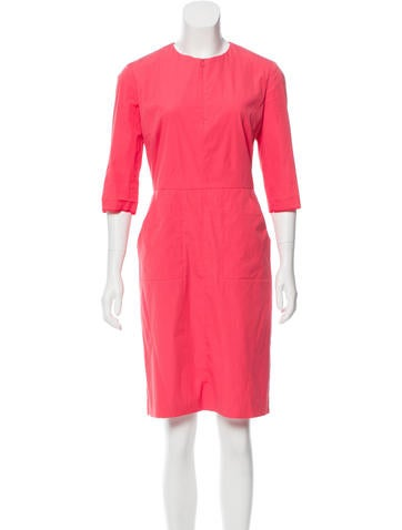 Jil Sander Three-Quarter Sleeve Knee-Length Dress None