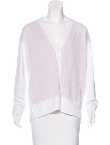 Jil Sander Textured Rib Knit Trim Cardigan None