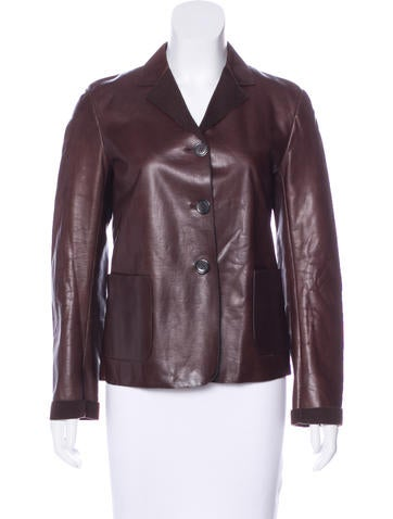 Jil Sander Leather Cashmere-Lined Blazer None