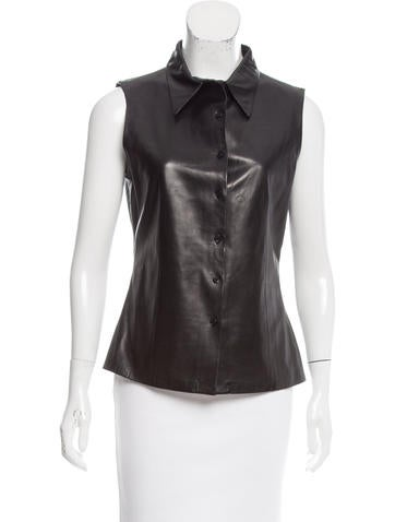 Jil Sander Leather Button-Up Top None