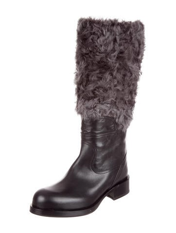 Jil Sander Shearling-Trimmed Knee-High Boots the cheapest sale online RSwJlYZx