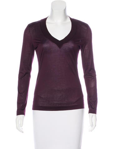 Jil Sander Long Sleeve V-Neck Top None