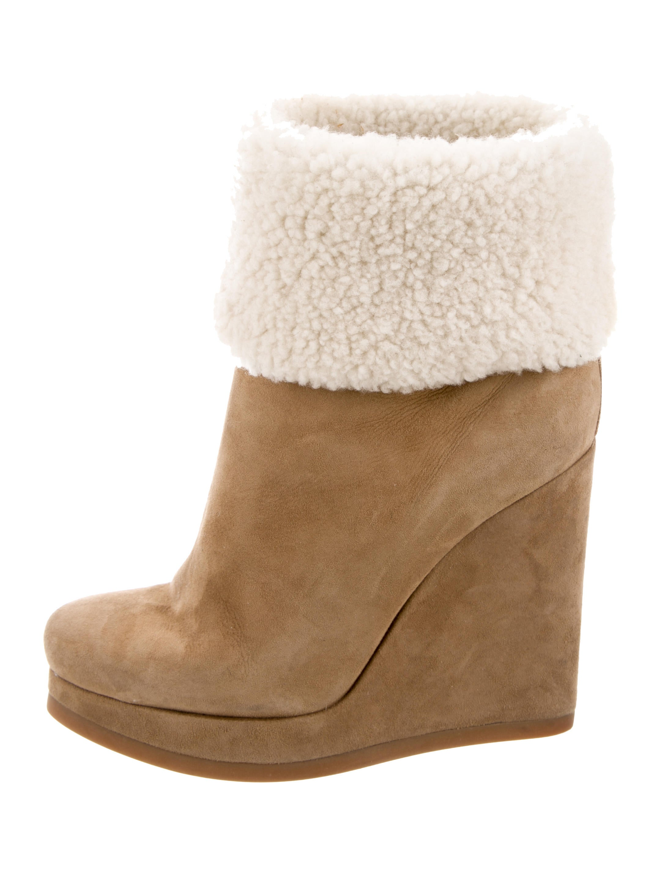 low price fee shipping cheap price Jil Sander Shearling-Trimmed Wedge Ankle Boots cheap for sale cheap largest supplier clearance pre order xDH5oT