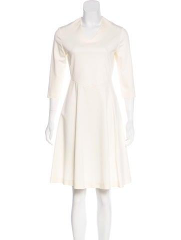 Jil Sander V-Neck Knee-Length Dress None