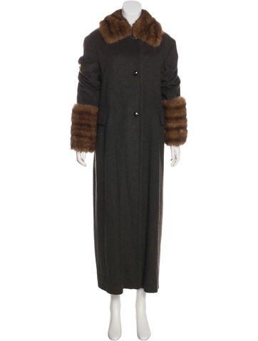 Jil Sander Fur-Trimmed Cashmere Coat w/ Tags None