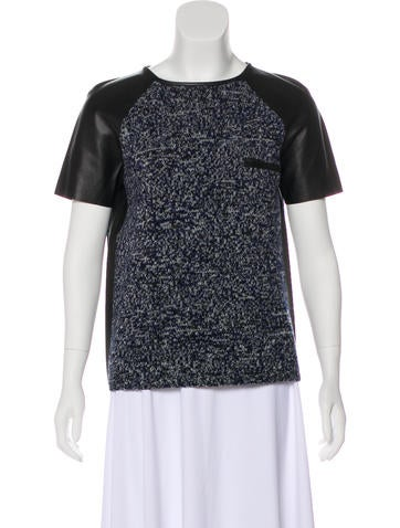 Jil Sander Leather-Trimmed Wool Top None