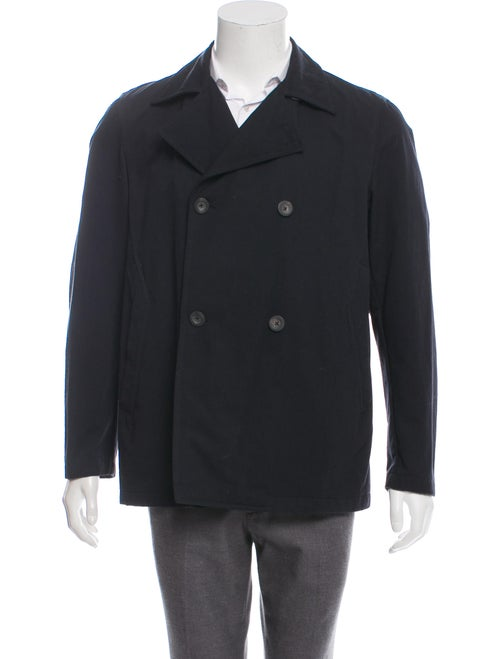 Jil Sander Woven Double breasted Overcoat navy