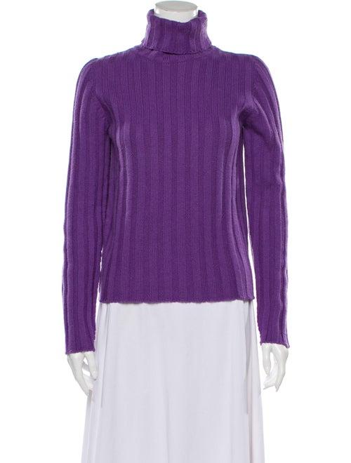 Jil Sander Cashmere Turtleneck Sweater Purple