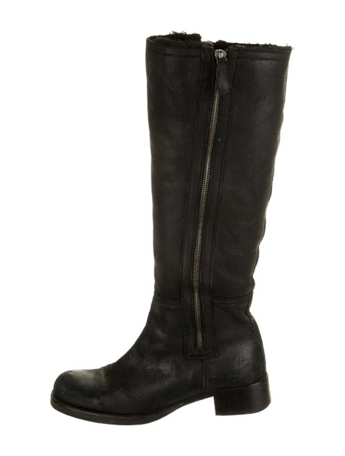 Jil Sander Leather Riding Boots Black