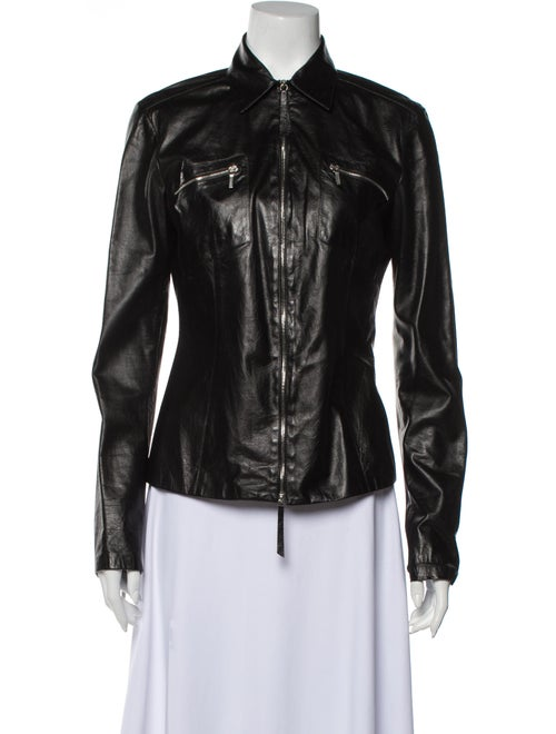 Jil Sander Leather Biker Jacket Black